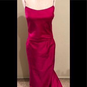 ABS Allen Schwartz Fuchsia Silk Top(4) Skirt(6).